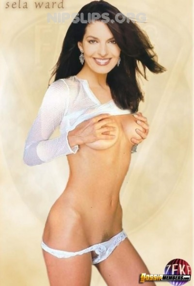 285e Sela Ward cupping her bare tits and showing off her bush 400x590 Sela Ward Hot MILF Fake Nudes Get more nipple slips at Nipple Slips org